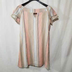Dizzy Lizzy off the shoulder striped mini dress